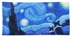 Hand Towel featuring the painting Starry Night Border Collies by Fran Brooks