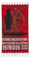 Starschips 02-poststamp - Battlestar Galactica Hand Towel by Chungkong Art