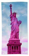 Statue Of Liberty - Pink Hand Towel