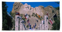 Statues On A Mountain, Mt Rushmore, Mt Hand Towel by Panoramic Images