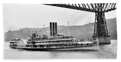 Steamer Albany Under Poughkeepsie Trestle Black And White Bath Towel