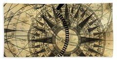 Steampunk Gold Compass Bath Towel