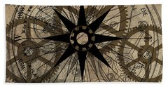 Hand Towel featuring the painting Steampunk Gold Gears II  by James Christopher Hill
