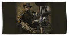 Steampunk - The Man 1 Hand Towel by Jeff Burgess