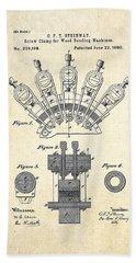 1880 Steinway Screw Clamp Patent Art Hand Towel by Gary Bodnar