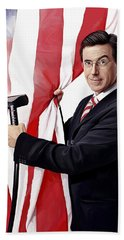 Bath Towel featuring the painting Stephen Colbert Artwork by Sheraz A