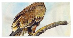 Hand Towel featuring the painting Steppe Eagle by Anthony Mwangi