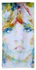Stevie Nicks - Watercolor Portrait Bath Towel by Fabrizio Cassetta