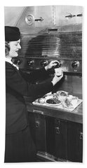 Stewardess Preparing Dinner Hand Towel