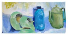 Bath Towel featuring the painting Still Life In Blue And Green Pottery by Greta Corens