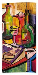 Still Life Of Fruit Wine And Cheese Hand Towel
