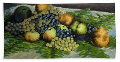 Still Life With Pears And Grapes Bath Towel