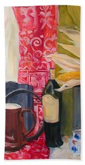Bath Towel featuring the painting Still Life With Red Cloth And Pottery by Greta Corens