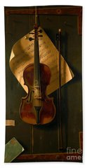 Still Life With Violin Bath Towel by Padre Art