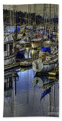 Hand Towel featuring the photograph Still Water Masts by Jean OKeeffe Macro Abundance Art