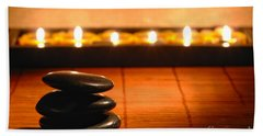 Stone Cairn And Candles For Quiet Meditation Bath Towel