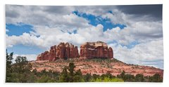 Bath Towel featuring the photograph Storm Clouds Over Cathedral Rocks by Jeff Goulden