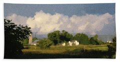 Storm Clouds Over Michigan Farm At Sunrise Hand Towel