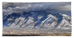 Storm Front Passes Over The Wasatch Mountains And Salt Lake Valley - Utah Hand Towel
