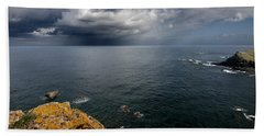 A Mediterranean Sea View From Sa Mesquida In Minorca Island - Storm Is Coming To Island Shore Bath Towel