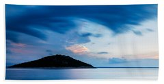Storm Moving In Over Veli Osir Island At Sunrise Bath Towel
