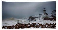 Storm Off Eastern Point Lighthouse Bath Towel