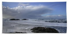 Storm Rolling In Wickaninnish Beach Hand Towel by Roxy Hurtubise