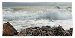 Storm Surf At Rye Beach Hand Towel by Sharon Seaward