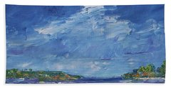 Stormy Day At Picnic Island Hand Towel by Gail Kent