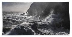Stormy Seas At Gulliver's Hole Bath Towel