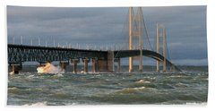 Stormy Straits Of Mackinac Hand Towel