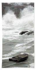 Hand Towel featuring the photograph Stormy Waves Pound The Shoreline by Jeff Folger