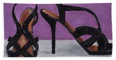 Strappy Black Heels For Maddy Bath Towel