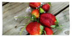 Strawberrries Hand Towel by Valerie Reeves