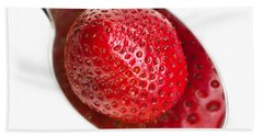 Strawberry Puddle Hand Towel by Dee Cresswell