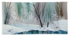 Stream Cove In Winter Bath Towel