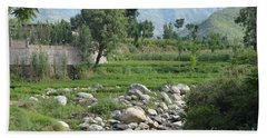 Stream Trees House And Mountains Swat Valley Pakistan Hand Towel
