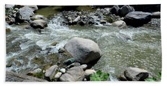 Bath Towel featuring the photograph Stream Water Foams And Rushes Past Boulders by Imran Ahmed