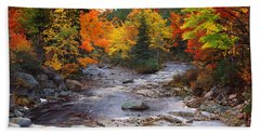 Stream With Trees In A Forest Hand Towel