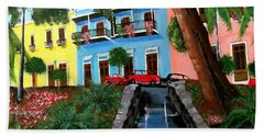Street Hill In Old San Juan Bath Towel