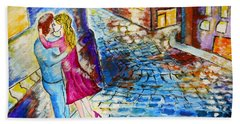 Hand Towel featuring the painting Street Kiss By Night  by Ramona Matei
