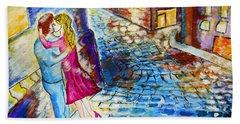 Street Kiss By Night  Hand Towel by Ramona Matei
