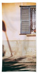Bath Towel featuring the photograph Street Lamp Shadow And Window by Silvia Ganora