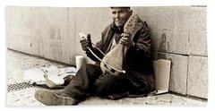 Street Musician Bath Towel