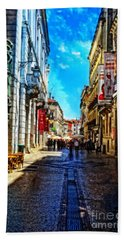 Streets Of Lisbon 1 Hand Towel by Mary Machare