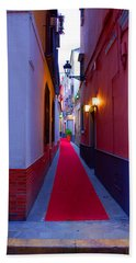 Streets Of Seville - Red Carpet  Bath Towel by Andrea Mazzocchetti