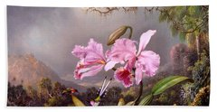Study Of An Orchid Hand Towel by Martin Johnson Heade