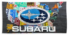Subaru License Plate Map Sales Celebration Limited Edition 2013 Art Hand Towel