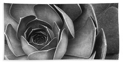 Succulent In Black And White Bath Towel by Ben and Raisa Gertsberg