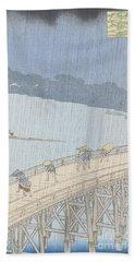 Sudden Shower On Ohashi Bridge At Ataka Hand Towel
